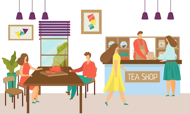 Beber chá no desenho animado café ilustração vetorial plana homem mulher personagem sente-se no teashop restaurante int.