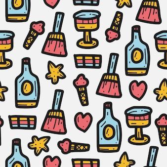 Beber desenho animado desenho padrão de doodle