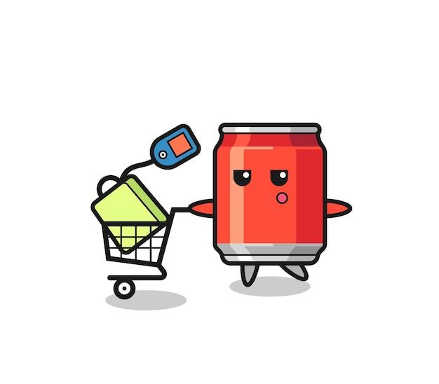 Beber lata ilustração desenho animado com um carrinho de compras, design de estilo fofo para camiseta, adesivo, elemento de logotipo