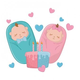 Bebês abrigados e bolo de aniversário