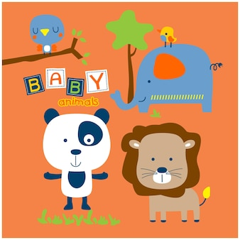 Bebês animais no zoológico desenho animado animal