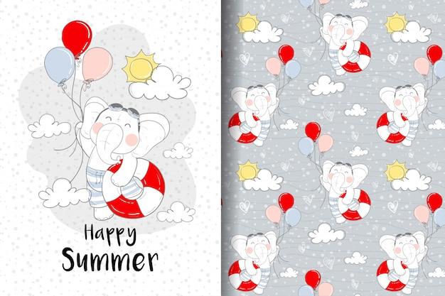 Bebês de elefante fofo voam com ilustração de balões e padrão sem emenda