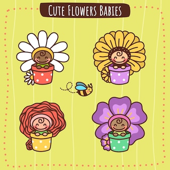 Bebês de flores fofas