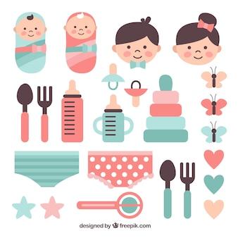 Bebês e pais com variedade de itens
