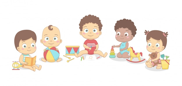 Bebês fofos estão brincando com um balde e uma pá, um urso, lê um livro, constrói uma pirâmide. sobre um fundo branco