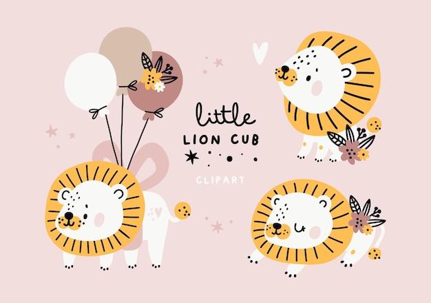 Bebês fofos leões com flores em tons pastel