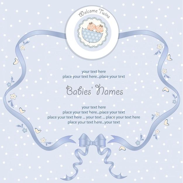 Bebês gêmeos cartão de chuveiro
