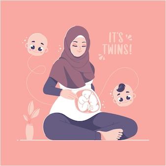 Bebês gêmeos e ilustração do conceito de gravidez hijab menina