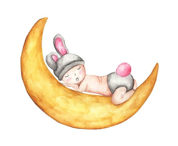 Bebezinho dormindo na lua. dormir coelhinho fofo. ilustração em aquarela.