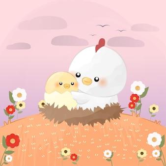Bebezinho fofo com mamãe galinha