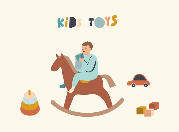 Bebezinho sentado no cavalo de madeira com um cubo na mão isolado no branco