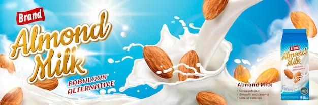 Bebida alternativa com respingos de leite e amêndoas