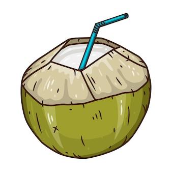 Bebida de água de coco. coco verde fresco bebendo isolado