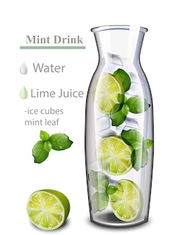 Bebida de água de desintoxicação hidratante. sabor de limão e hortelã. bebida fresca realista em uma jarra de vidro