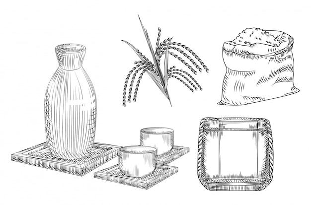 Bebida de álcool de arroz japonês tradicional. coleção de vaso de cerâmica e copo, caule e arroz saco, barril de saquê.