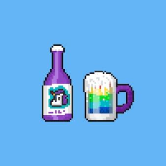 Bebida de arco-íris de unicórnio de pixel. 8 bits verão.