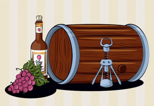 Bebida de barril de vinho com garrafa e uvas vector design ilustração