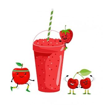 Bebida de batido. suco de frutas frescas no verão. smoothie de frutas vermelhas. frutos de bonito dos desenhos animados com caneca. menu de beber, ilustração de estilo de vida saudável vegan