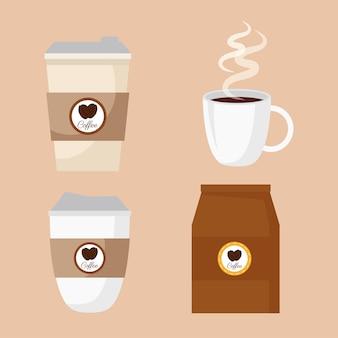 Bebida de café com design de ilustração de ícones definidos