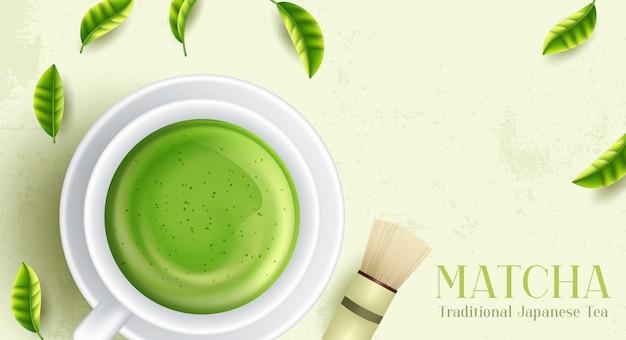 Bebida de chá verde matcha e acessórios de chá. conceito de cerimônia do chá japonês.