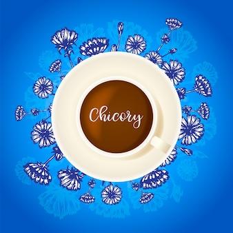 Bebida de chicória xícara de café com chicória mão desenhada flor ao redor