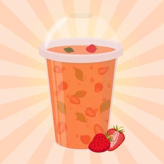 Bebida de detox de morango, smoothie saudável
