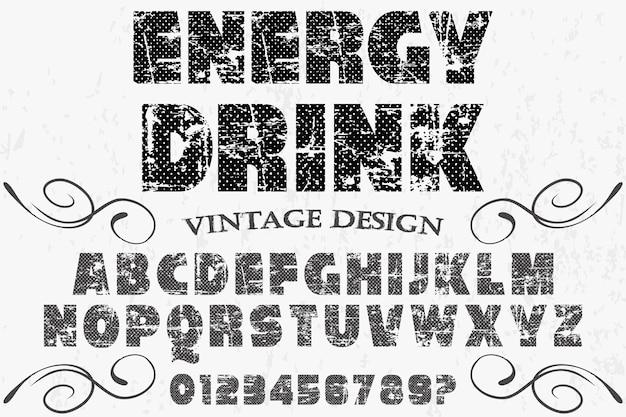 Bebida de energia alfabética de fonte vintage