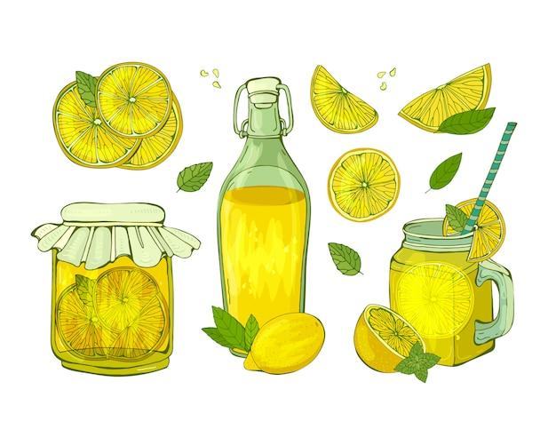 Bebida de frutas de verão. limonada em uma garrafa e uma caneca e limão cortado em fatias diferentes