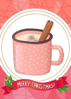 Bebida de gemada fofa com chocolate em pó e canela. cartão de natal