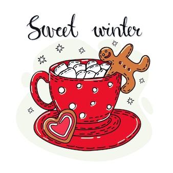 Bebida de inverno com homem-biscoito. letra manuscrita.