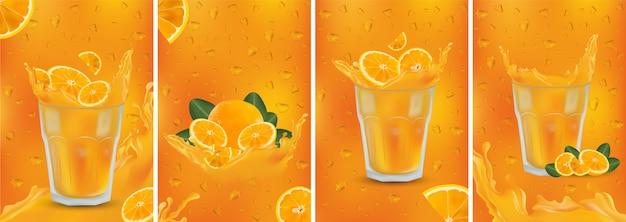 Bebida de laranja. respingo de laranja fresco com frutas. suco de frutas 3d realista. laranja cortada com folhas verdes. definir ilustração.