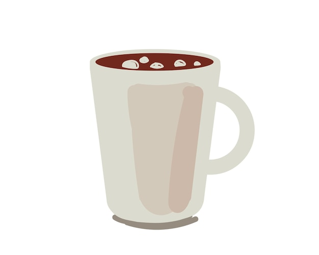 Bebida de leite de cacau com marshmallow ou copo de chocolate quente bebida desenho vetorial isolado