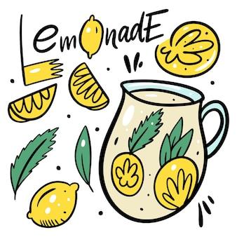 Bebida de limonada de verão. produto orgânico. limão desenhado de mão, hortelã, jarra e letras. estilo de desenho animado. ilustração. isolado no fundo branco. projeto para menu café e bar.