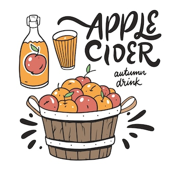 Bebida de outono de cidra de maçã com maçãs