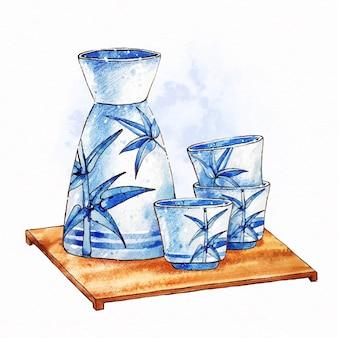 Bebida de saquê japonês em copos fofos