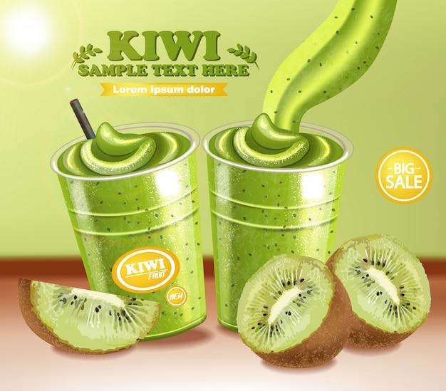 Bebida de smoothie de kiwi