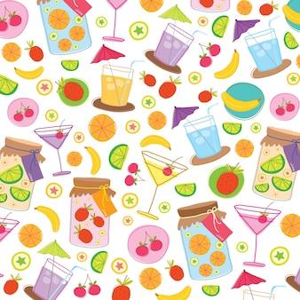Bebida de suco de fruta bonito dos desenhos animados vetor de design de embrulho de presente