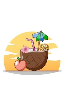 Bebida doce de coco gelado na praia na ilustração dos desenhos animados de verão