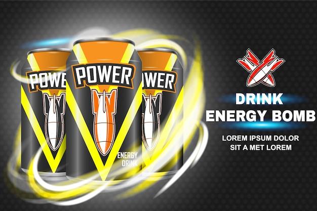 Bebida energética em latas de metal com foguetes e banner de poder