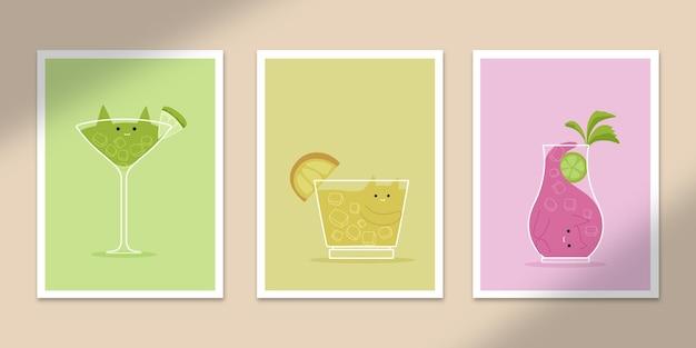Bebida fofa gato abstrato pôsteres arte formas desenhadas à mão cobre conjunto coleção para decoração de impressão