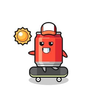 Bebida lata ilustração de personagem andar de skate, design de estilo fofo para camiseta, adesivo, elemento de logotipo