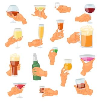 Bebida na mão, bebendo tequila cocktail alcoólico martini ou cerveja não alcoólica na ilustração de caneca