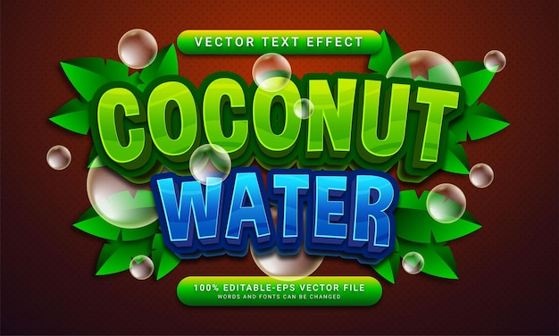 Bebida natural com tema de efeito de texto editável de água de coco