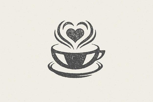 Bebida quente com coração vapor como emblema de cafeteria