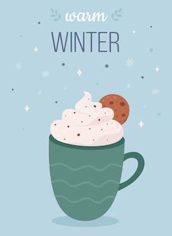 Bebida quente de natal com marshmallow e bengala de doces boas festas