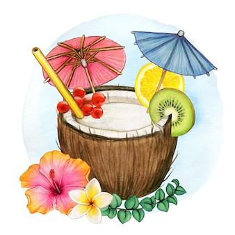 Bebida tropical de coco colorido
