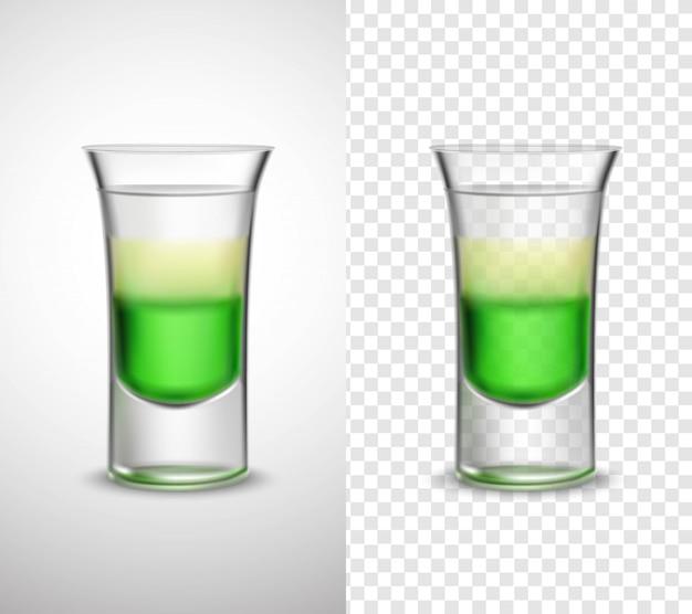 Bebidas alcoólicas coloridas de vidro transparentes banners
