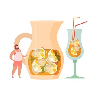 Bebidas alcoólicas coquetéis composição plana de decantador com sangria de gelo de hortelã e fatias de frutas cítricas