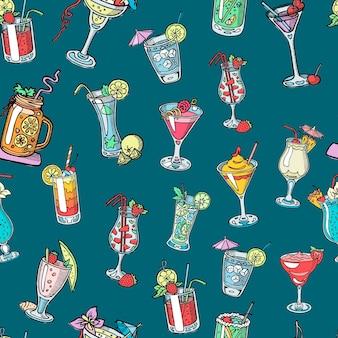 Bebidas alcoólicas de cocktail de martini, margarita, tequila ou vodka sem costura padrão
