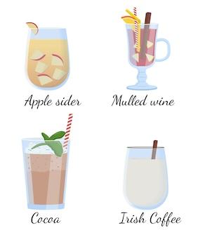 Bebidas alcoólicas e coquetéis. ilustração vetorial plana
